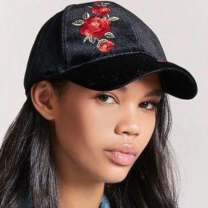 Forever 21 Floral Embroidered Velvet Baseball Hat